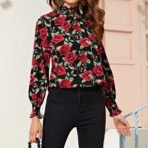 Red Roses High Neck Frill Trim Floral Top in XS